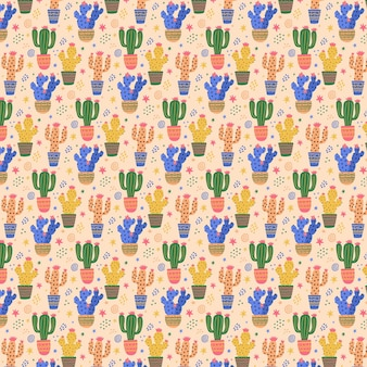 Colorful cactus plant pattern