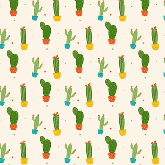 Colorful cactus plant with flowers pattern