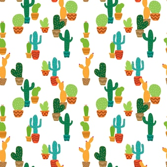 Colorful cactus in seamless pattern background. vector illustration.