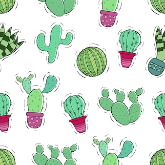 Colorful of cactus seamless pattern