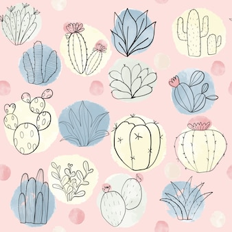 Colorful cactus and succulent seamless pattern