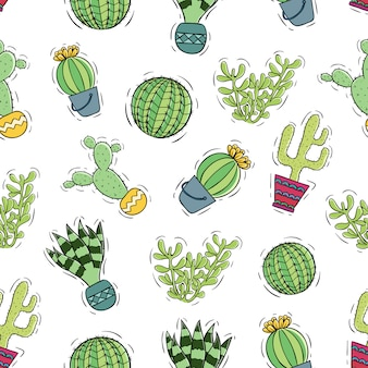 Colorful cactus with pot using doodle style