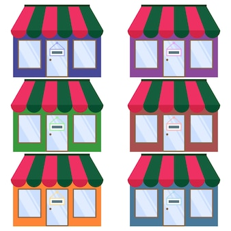 Colorful cafe or shop or mini market where shopping element icon game asset flat illustration