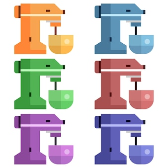 Colorful cake mixer element icon game asset flat illustration