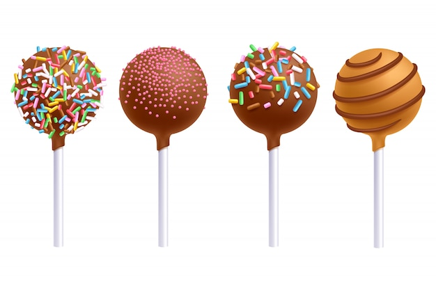 Colorful cake pops set. sweet cookies on stick. decorated sweets.