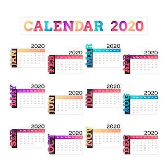 2020年テンプレートのカラフルなカレンダー