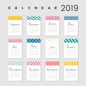 Colorful calendar mockup
