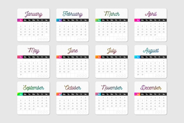 Colorful calendar schedule 2020