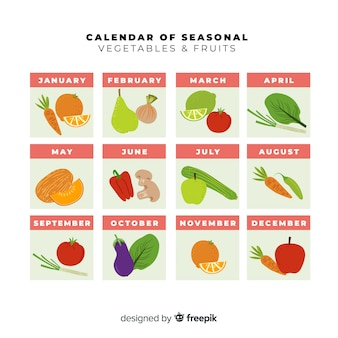 Colorful calendar of seasonal vegetables and fruits