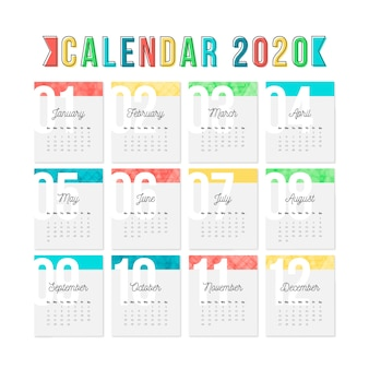 Colorful calendar template for 2020