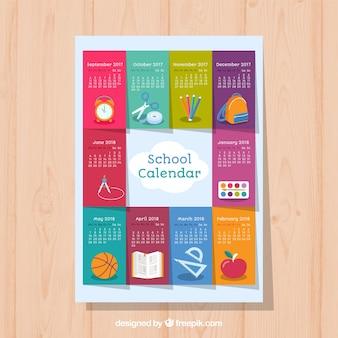 Calendario colorato e varietà di elementi shcool
