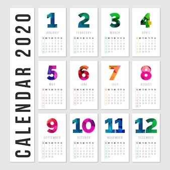 Colorful calendar with months and days