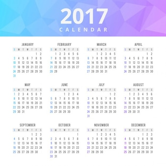 Colorful calendar with polygonal shapes