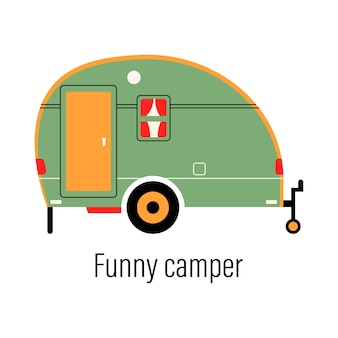 Colorful camper. entertainment car. mobile home for out-of-town recreation and outdoor recreation.