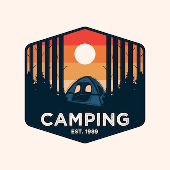 Colorful camping adventure badge logo