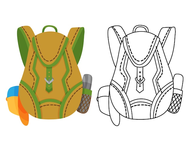 Colorful camping backpack in flat with coloring