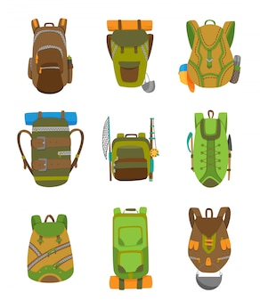 Colorful camping backpack set in flat design. tourist retro back packs vector illustration.