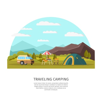 Colorful camping concept