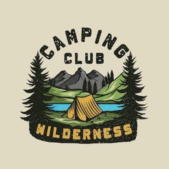 カラフルなキャンプの荒野の冒険のロゴ