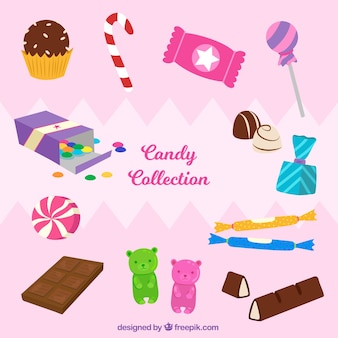 Colorful candies collection in hand drawn style