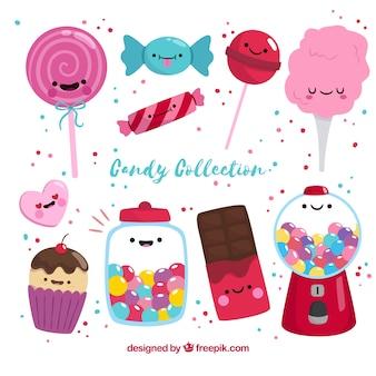 손으로 그린 스타일에 화려한 사탕 컬렉션