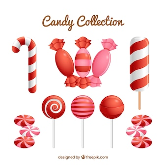 Colorful candies collection in realistic style