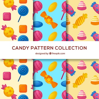 Raccolta di modelli di caramelle colorate in stile piano