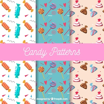 Colorful candies patterns collection in flat style