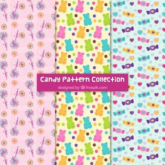 평면 스타일에 화려한 사탕 패턴 모음