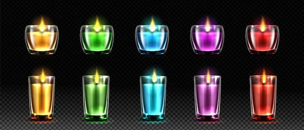 다채로운 촛불 현실적인 그림 세트