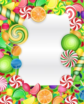 Colorful candy background with lollipop and orange slice