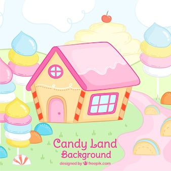 Colorful candy land background in hand drawn style