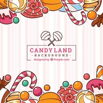 Красочный фон конфеты земли в рисованной стиле