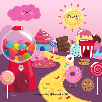 Colorful candy land background