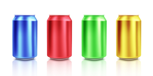 Colorful cans on white background. mockup.vector illustration