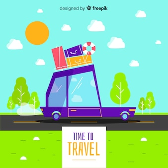 Colorful car travel background