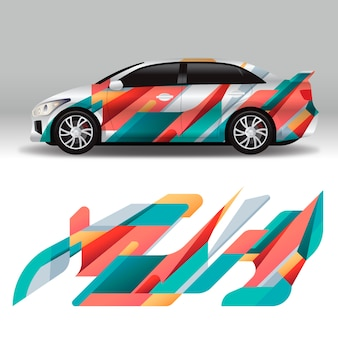 Colorful car wrap design