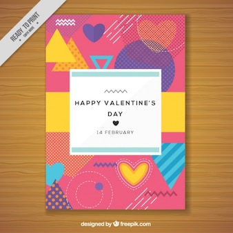 80 년대 스타일의 발렌타인 데이를위한 다채로운 카드