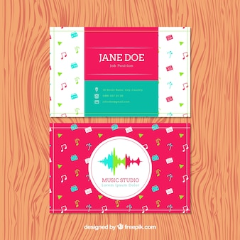 Colorful card for a music studio
