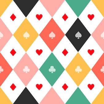 화려한 카드 한 벌 체스 보드 다이아몬드 배경