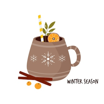 Colorful card with cup of cocoa and spices. winter greetings. vector illustration