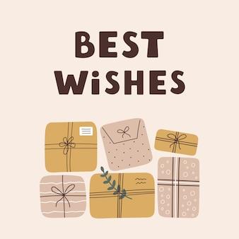 Красочная открытка с подарочными коробками и надписями, изолированные на пастельном фоне. открытка с наилучшими пожеланиями.