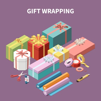 Colorful cardboard gift boxes and tools for wrapping isometric composition 3d vector illustration
