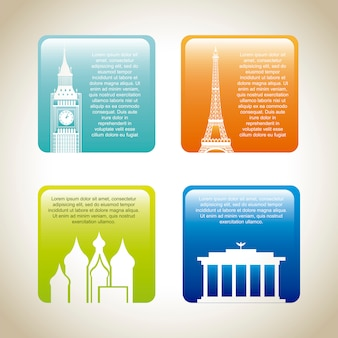 Colorful cards of places of world  vector illustration