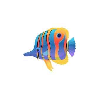 보라색 줄무늬 피부, 흰색 표면에 고립 된 평면 벡터 일러스트와 함께 다채로운 카리브해 또는 열대어