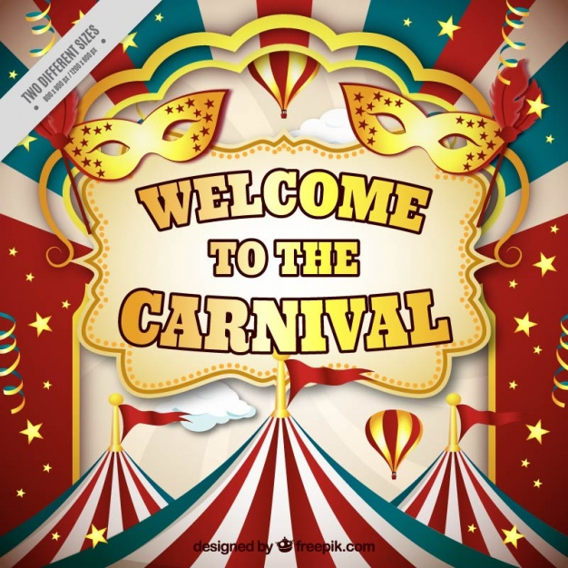 Colorful carnival background with marquees in realistic style