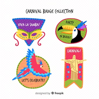 Colorful carnival badge collection
