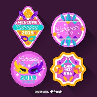 Colorful carnival badge set