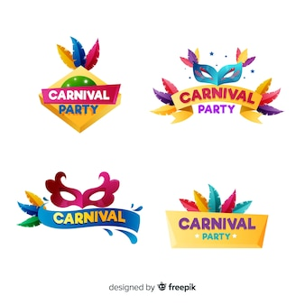 Colorful carnival badge set