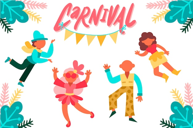 Colorful carnival dancers collection
